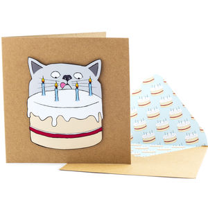 Naughty Cat Birthday Cake Personalised Card