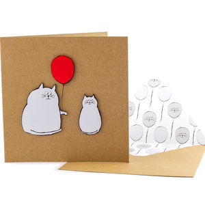 Red Balloon Cats Personalised Card - birthday cards
