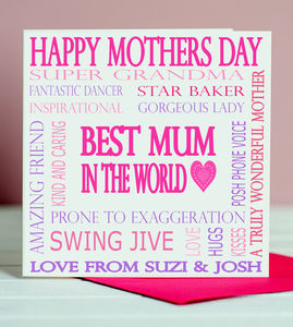 Personalised 'Best Mum' Mothers Day Card - view all mother's day gifts