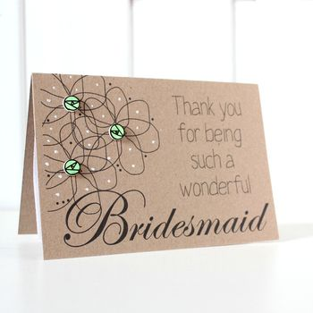 Personalised 'Thank You' Floral Bridesmaid Wedding Card
