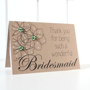 Personalised 'Thank You' Floral Bridesmaid Wedding Card - wedding cards