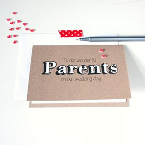 'To Our Wonderful Parents' Wedding Day Card