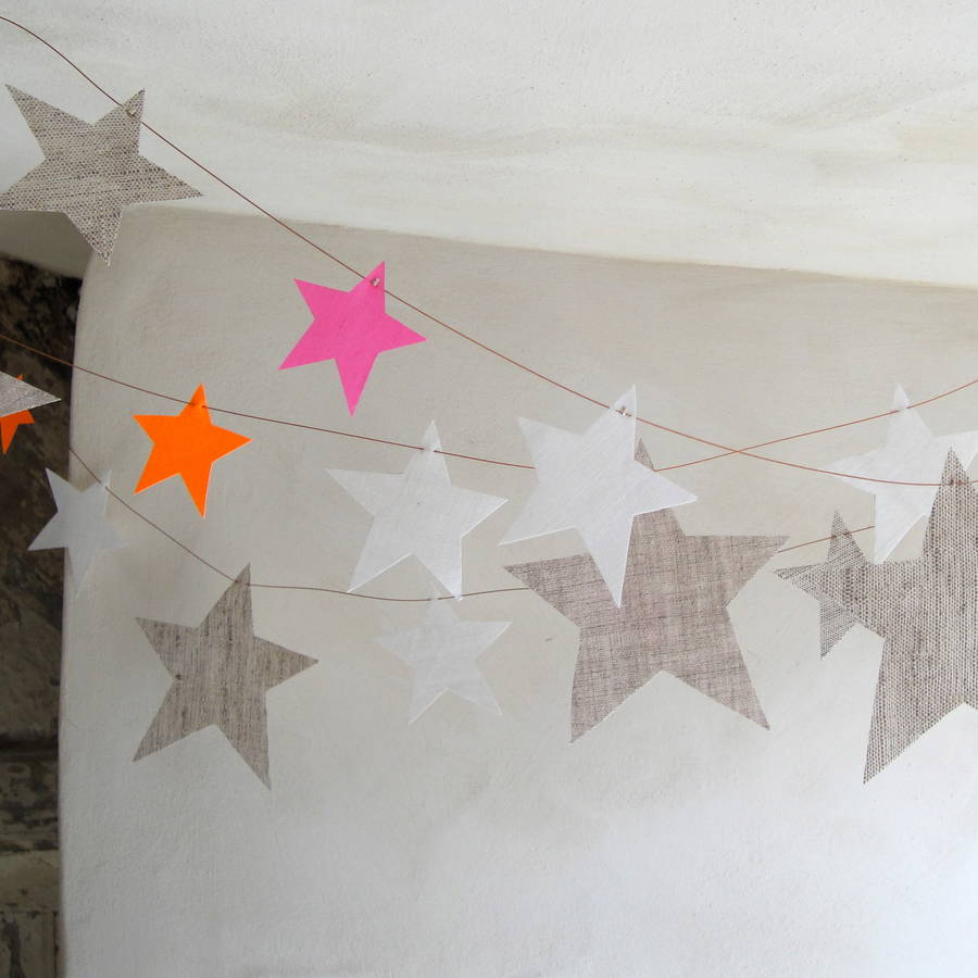 Textile Star Garland Neutrals With Tiny Stars In Neons