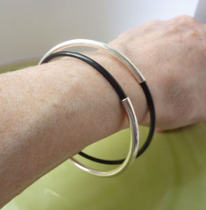 Double Silver And Black Bangle