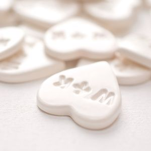 Personalised Small Ceramic Hearts Wedding Favours - wedding favours