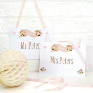 Personalised 'Mr And Mrs' Wedding Sign