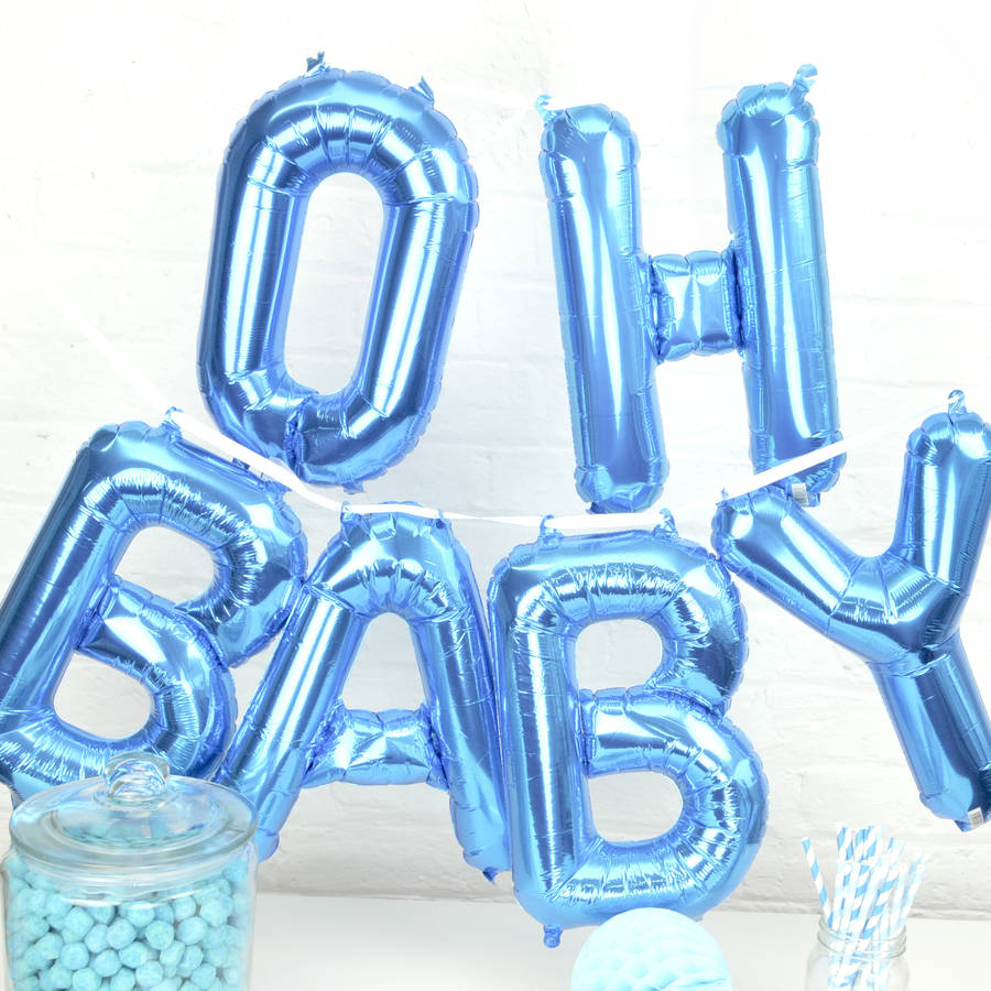 oh baby 39 baby shower balloons by peach blossom notonthehighstreet