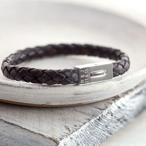 Personalised Men's Leather Date Bracelet - gifts for him sale