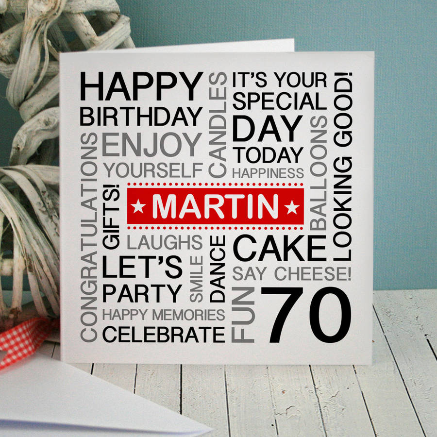 personalised th birthday card by a type of design, Birthday card