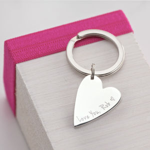 Personalised Silver Heart Key Ring - gifts for her