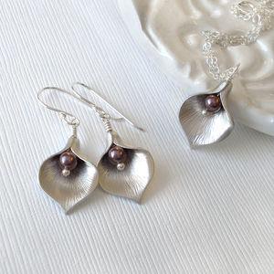 Calla Lily Jewel Burgundy Jewellery Set - necklaces & pendants