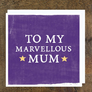 'Marvellous Mum' Card - mother's day cards