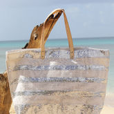 Large Sequined Striped Jute Tote - summer shop