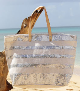Large Sequined Striped Jute Tote - bags & purses