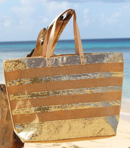 Aspiga Large Sequined Striped Jute Tote - beach bags