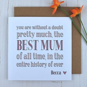 Best Mum Ever, Personalised Card - mother's day cards