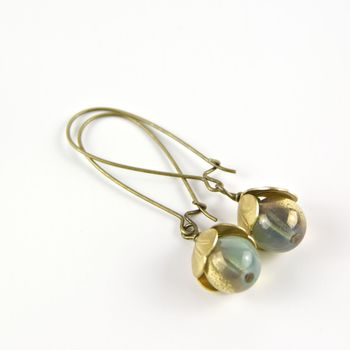 Vintage Style Tulip Earrings - turquoise