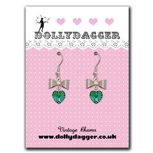 Dollydagger Crystal Heart And Bow Earrings - earrings