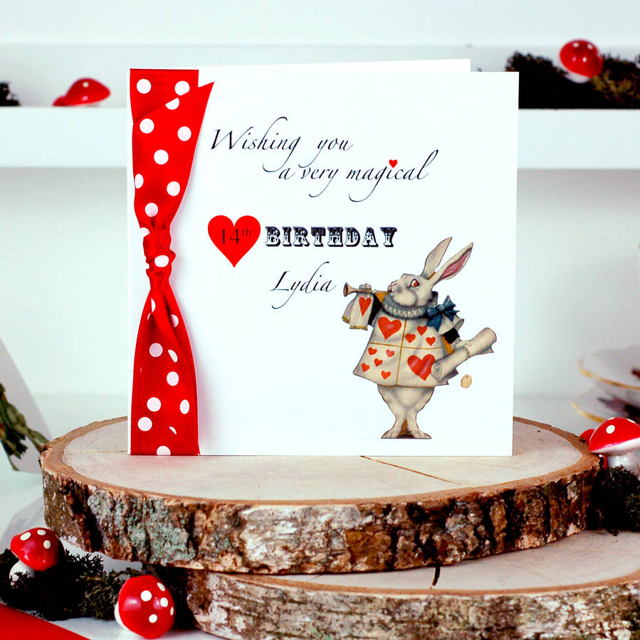 Alice In Wonderland Personalised Birthday Card