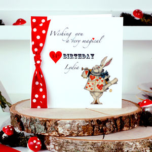 Alice In Wonderland Personalised Birthday Card - birthday cards