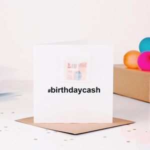 Hashtag Personalised Birthday Card Cash Gift - birthday cards