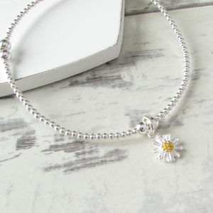Sterling Silver Beaded Daisy Bracelet - for children
