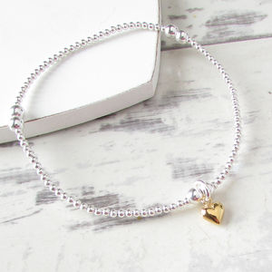 Silver Beaded Tiny Gold Heart Bracelet - bracelets & bangles
