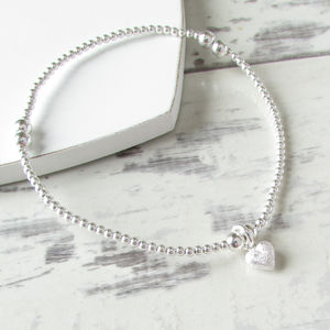 Sterling Silver Beaded Tiny Frosted Heart Bracelet - wedding jewellery