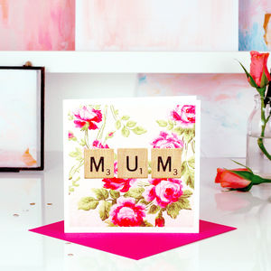 Vintage Pink Rose Print Scrabble Mothers Day Card - seasonal cards