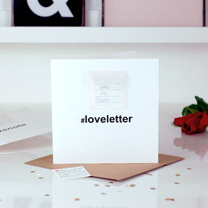 Hashtag Love Letters Notes Personalised Wedding Card