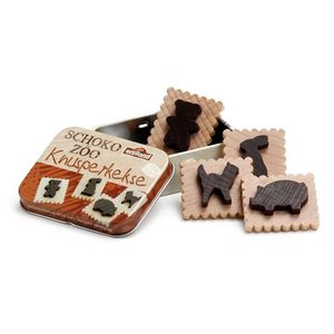 Tin Containing Four Wooden Animal Biscuits Toy