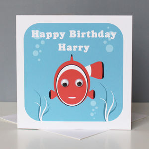 Personalised Wobbly Eyed Marine Cards - birthday cards