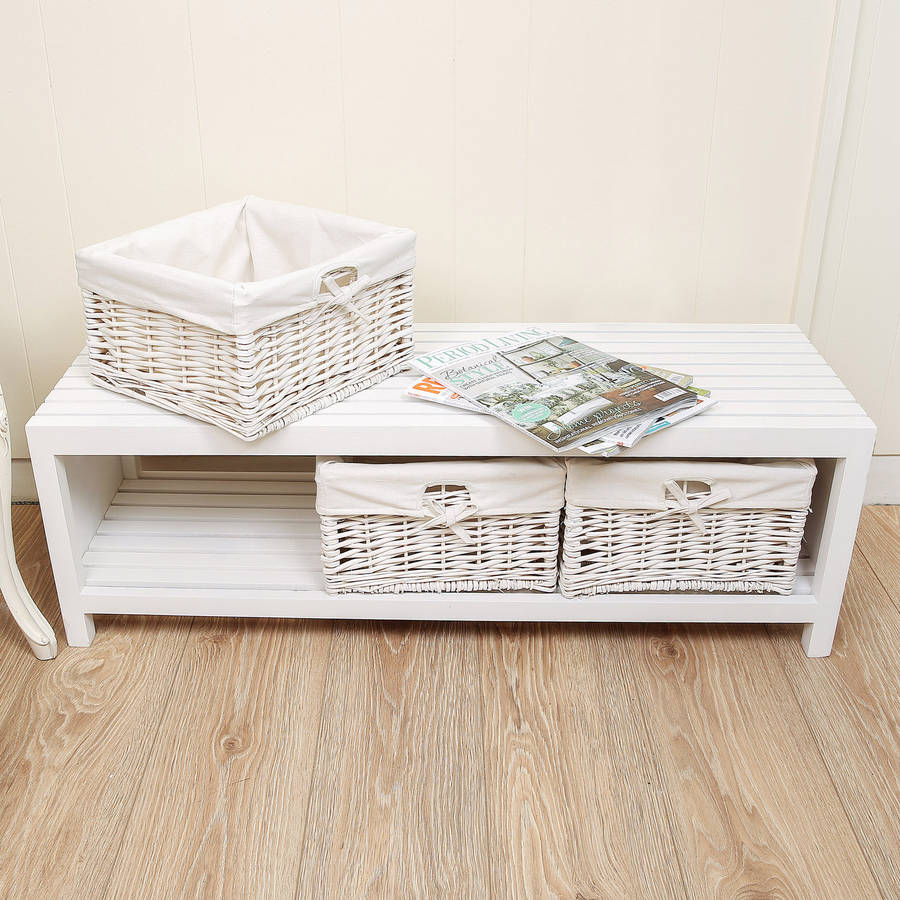 White hallway bench with wicker baskets by dibor Bench with baskets