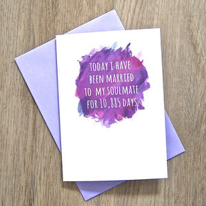 Personalised Watercolour Soulmate Days Card - anniversary cards