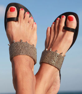 Luna Silver On Black Leather Sandals