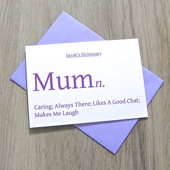 Personalised Colourful Dictionary Card