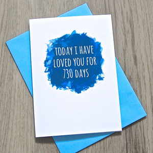 Personalised Watercolour Days I've Loved You Card - anniversary cards