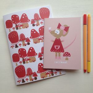 Toadstool And Mouse Notebook Set