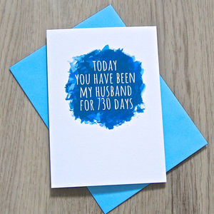 Personalised Watercolour Husband Or Wife Days Card - anniversary cards