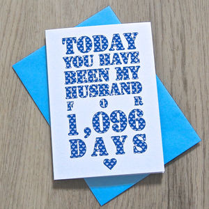 Personalised Husband Or Wife Days Card