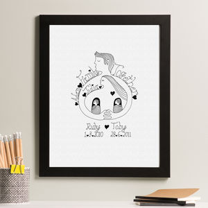 Personalised 'Family Together' Ink Drawing - mixed media & collage