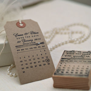 Personalised Calendar Save The Date Stamp
