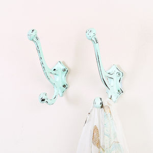 Duck Egg Blue Cast Iron Coat Hook - bedroom