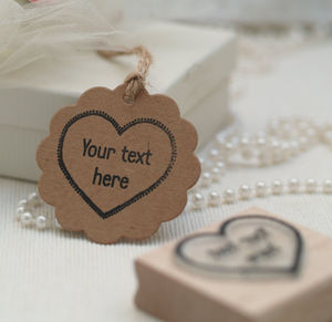 'Your Own Text' Heart Rubber Stamp - office & study