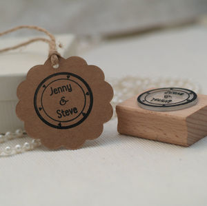 'Your Names' Circular Rubber Stamp