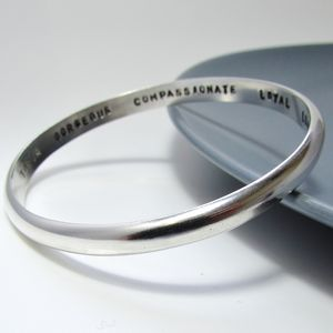 Personalised Smooth Heavy Silver Bangle