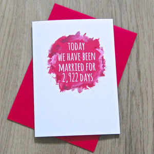 Personalised Watercolour Days Of Marriage Card - anniversary gifts
