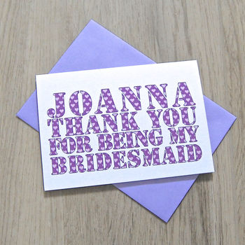 Personalised Bridesmaid/Best Man Card