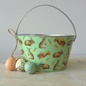 Rabbit And Carrot Tin Bucket - garden sale