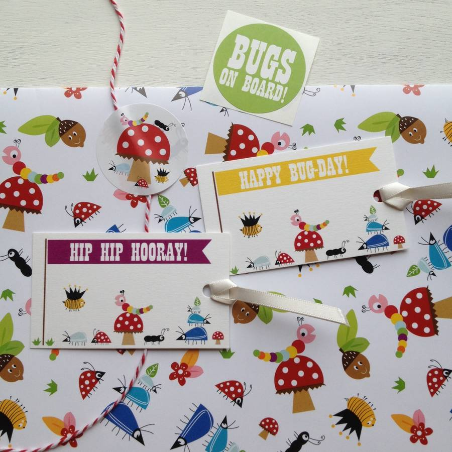 Bug Pattern Wrapping Paper And Gift Wrap Set